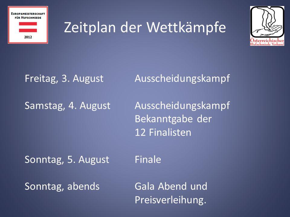 Donnerstag, 2. August - Ankunft 10.00 - 16.00 Uhr offenes Training in der Veranstaltungshalle.