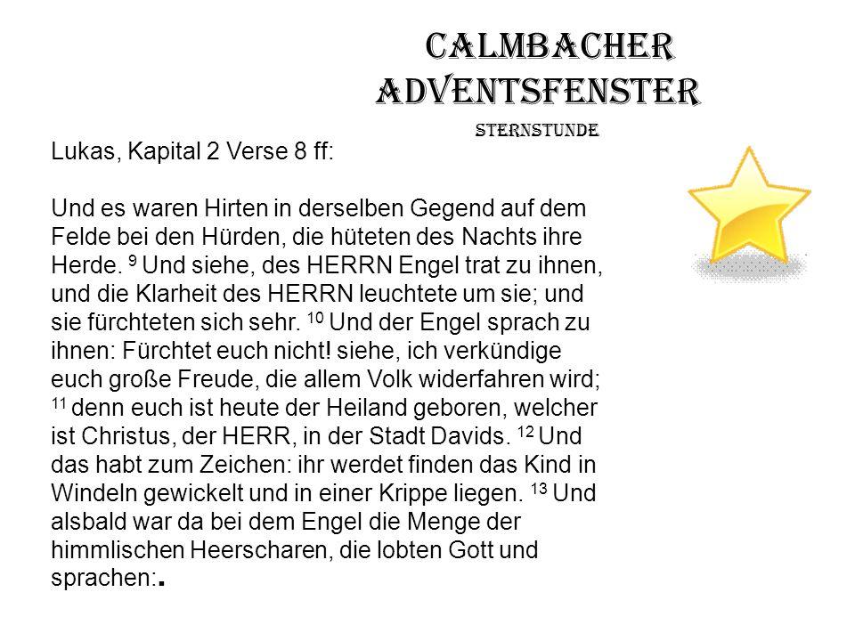 Calmbacher Adventsfenster Sternstunde Lukas, Kapital 2 Verse 8 ff: Und es waren Hirten in derselben Gegend auf dem Felde bei den Hürden, die hüteten d