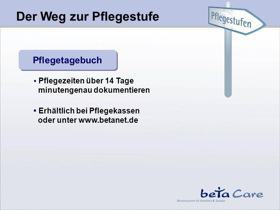 Pflegetagebuch Pflegezeiten über 14 Tage minutengenau dokumentieren Erhältlich bei Pflegekassen oder unter www.betanet.de Der Weg zur Pflegestufe