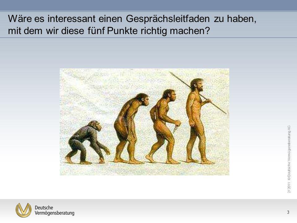 2/ 2011 © Deutsche Vermögensberatung AG 3 Wäre es interessant einen Gesprächsleitfaden zu haben, mit dem wir diese fünf Punkte richtig machen?