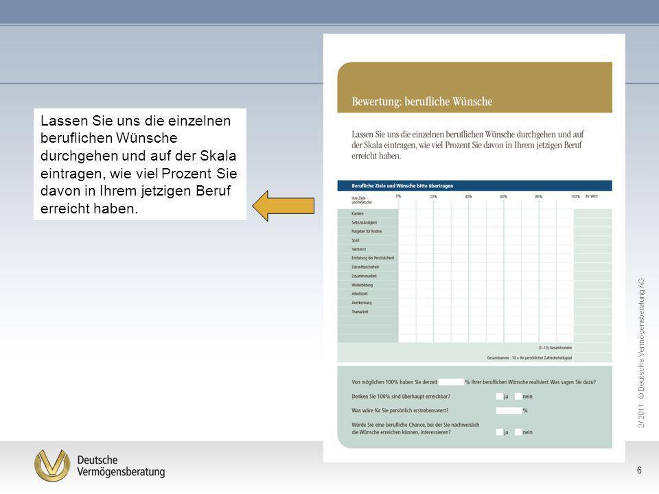 2/ 2011 © Deutsche Vermögensberatung AG 6 Lassen Sie uns die einzelnen beruflichen Wünsche durchgehen und auf der Skala eintragen, wie viel Prozent Si