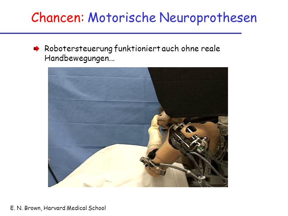 Chancen: Motorische Neuroprothesen E. N. Brown, Harvard Medical School Robotersteuerung funktioniert auch ohne reale Handbewegungen...