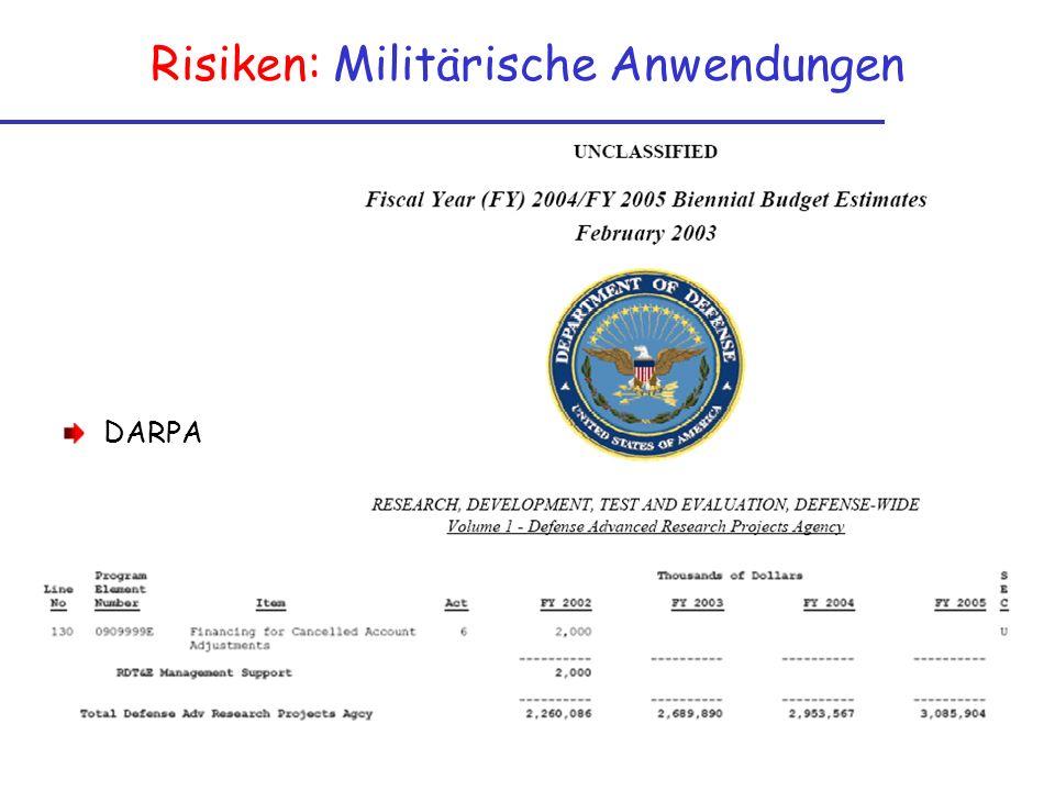 Risiken: Militärische Anwendungen DARPA