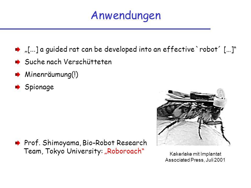 Anwendungen [...] a guided rat can be developed into an effective `robot´ […] Suche nach Verschütteten Minenräumung(!) Spionage Prof. Shimoyama, Bio-R