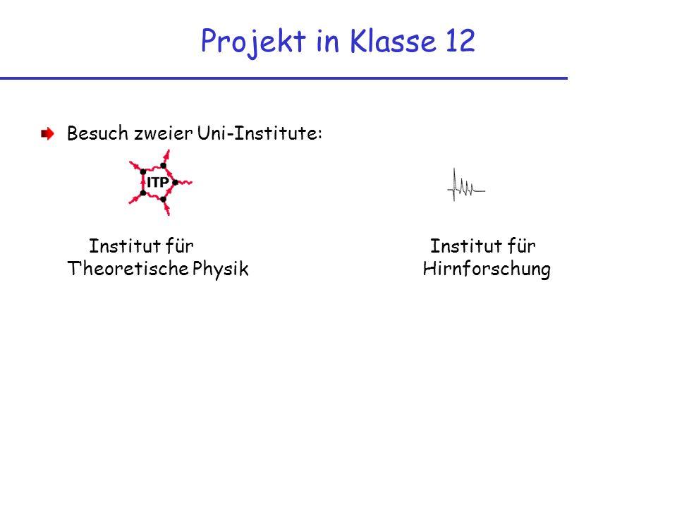 Projekt in Klasse 12 Besuch zweier Uni-Institute: Institut für Institut für Theoretische Physik Hirnforschung