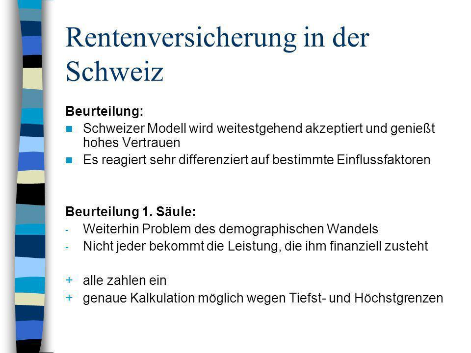 Rentenversicherung in der Schweiz Beurteilung: Schweizer Modell wird weitestgehend akzeptiert und genießt hohes Vertrauen Es reagiert sehr differenzie