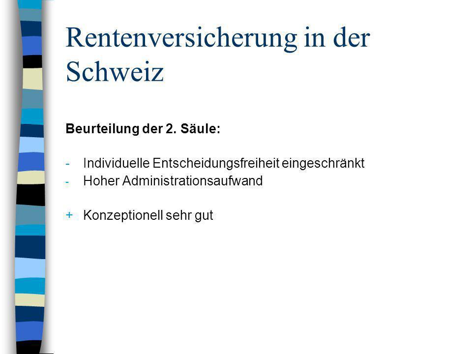 Rentenversicherung in der Schweiz Beurteilung der 2. Säule: - Individuelle Entscheidungsfreiheit eingeschränkt - Hoher Administrationsaufwand + Konzep