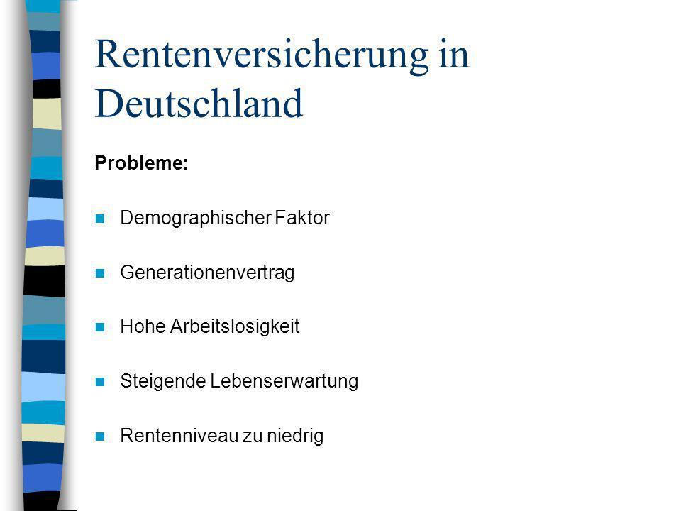 Rentenversicherung in Deutschland Probleme: Demographischer Faktor Generationenvertrag Hohe Arbeitslosigkeit Steigende Lebenserwartung Rentenniveau zu