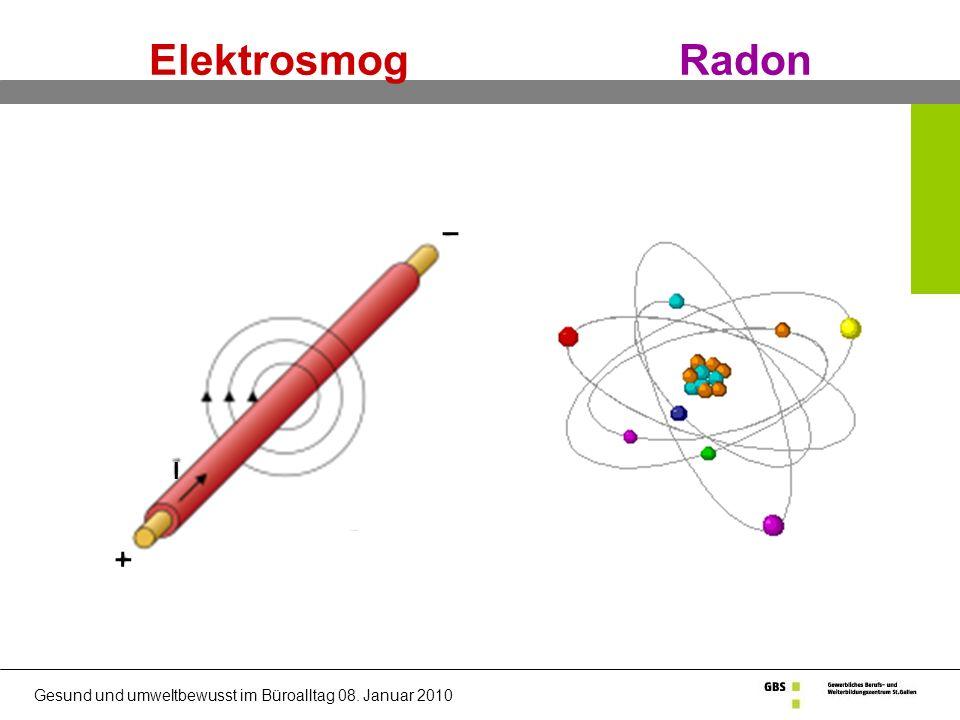 Gesund und umweltbewusst im Büroalltag 08. Januar 2010 Elektrosmog Radon j I