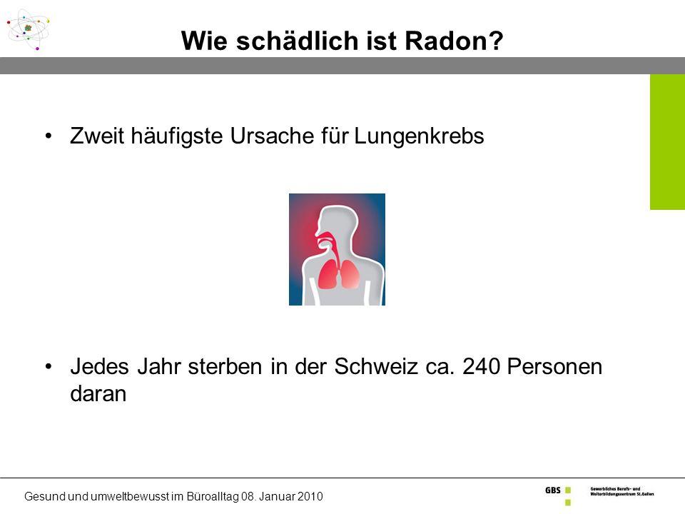 Gesund und umweltbewusst im Büroalltag 08.Januar 2010 Wie schädlich ist Radon.