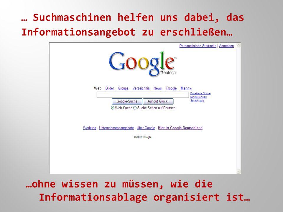 … Suchmaschinen helfen uns dabei, das Informationsangebot zu erschließen… …ohne wissen zu müssen, wie die Informationsablage organisiert ist…