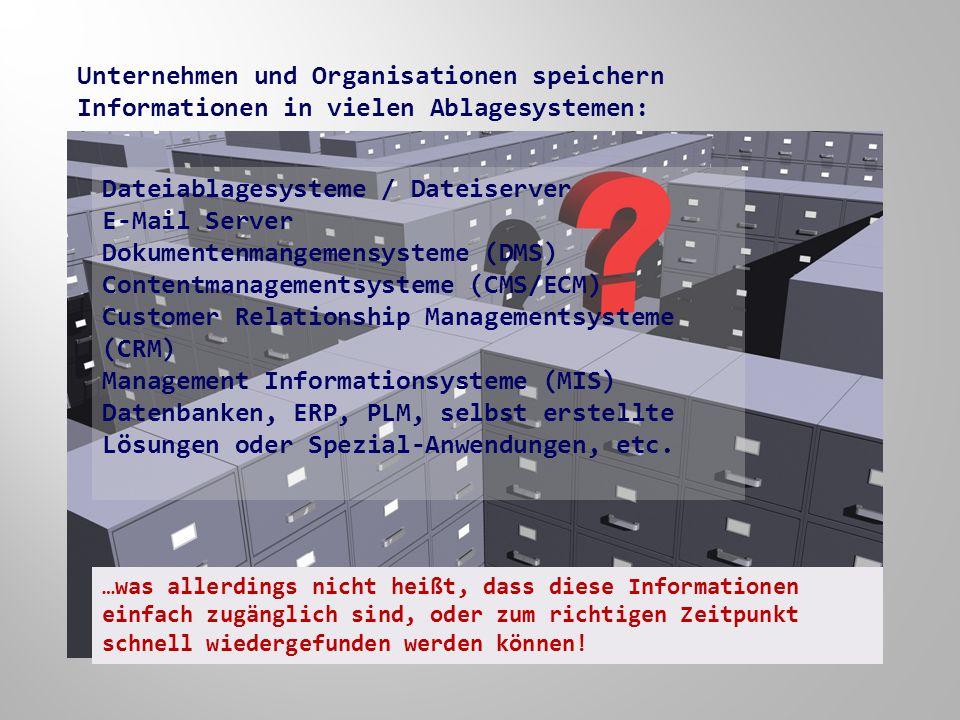 Unternehmen und Organisationen speichern Informationen in vielen Ablagesystemen: Dateiablagesysteme / Dateiserver E-Mail Server Dokumentenmangemensysteme (DMS) Contentmanagementsysteme (CMS/ECM) Customer Relationship Managementsysteme (CRM) Management Informationsysteme (MIS) Datenbanken, ERP, PLM, selbst erstellte Lösungen oder Spezial-Anwendungen, etc.