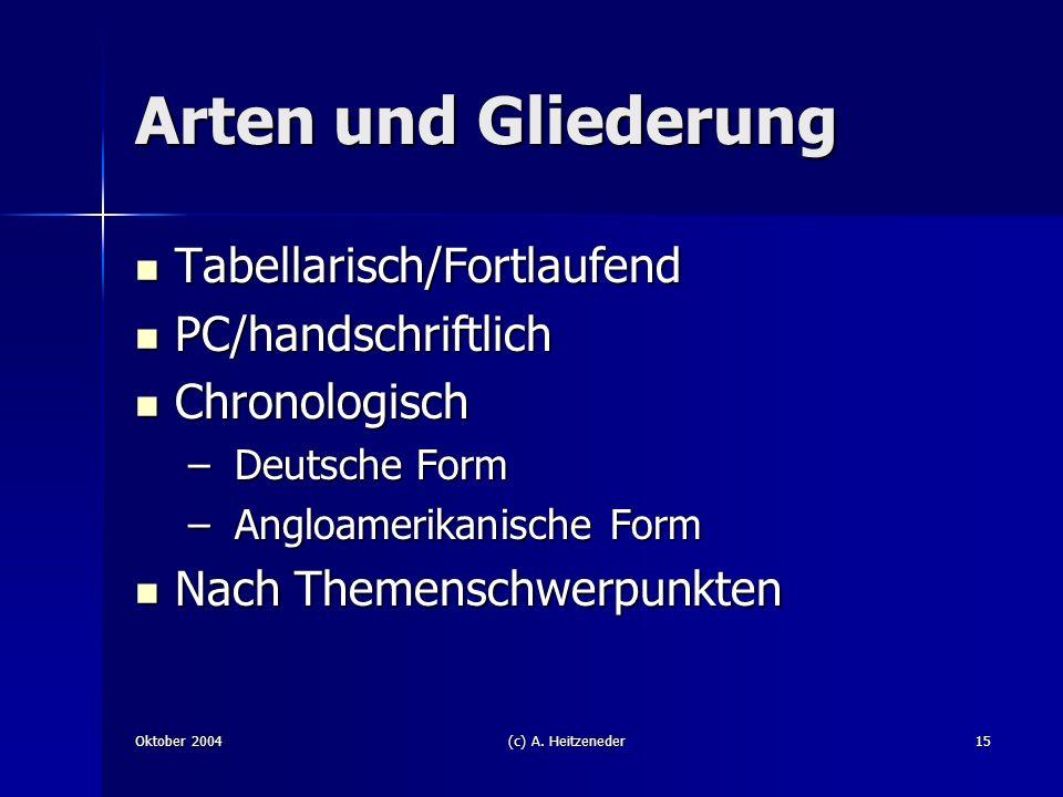 Oktober 2004(c) A. Heitzeneder15 Arten und Gliederung Tabellarisch/Fortlaufend Tabellarisch/Fortlaufend PC/handschriftlich PC/handschriftlich Chronolo