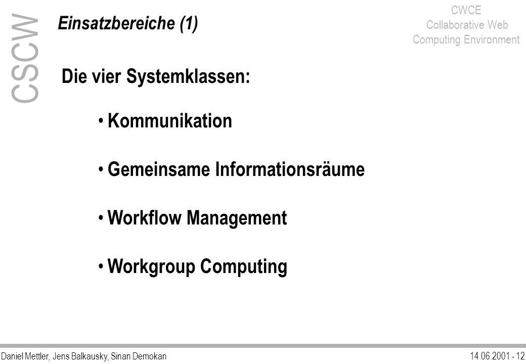 Daniel Mettler, Jens Balkausky, Sinan Demokan14.06.2001 - 12 CWCE Collaborative Web Computing Environment CSCW Einsatzbereiche (1) Die vier Systemklas