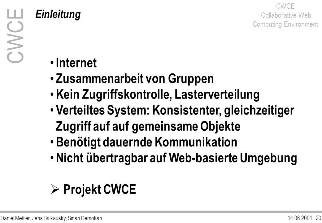 Daniel Mettler, Jens Balkausky, Sinan Demokan14.06.2001 - 20 CWCE Collaborative Web Computing Environment Internet Zusammenarbeit von Gruppen Kein Zug