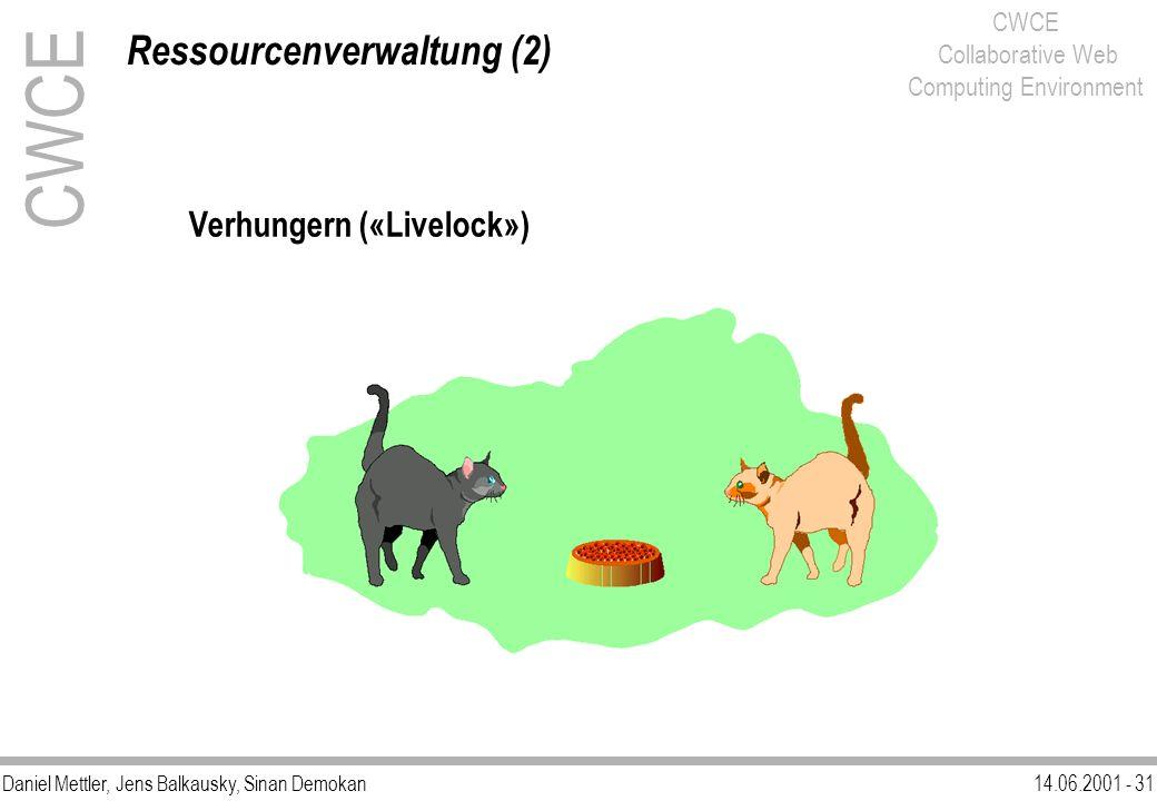Daniel Mettler, Jens Balkausky, Sinan Demokan14.06.2001 - 31 CWCE Collaborative Web Computing Environment Verhungern («Livelock») Ressourcenverwaltung