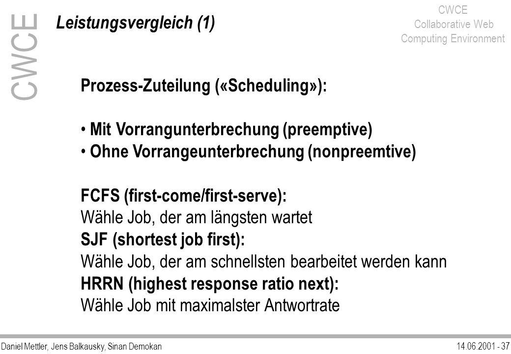 Daniel Mettler, Jens Balkausky, Sinan Demokan14.06.2001 - 37 CWCE Collaborative Web Computing Environment Leistungsvergleich (1) CWCE Prozess-Zuteilun