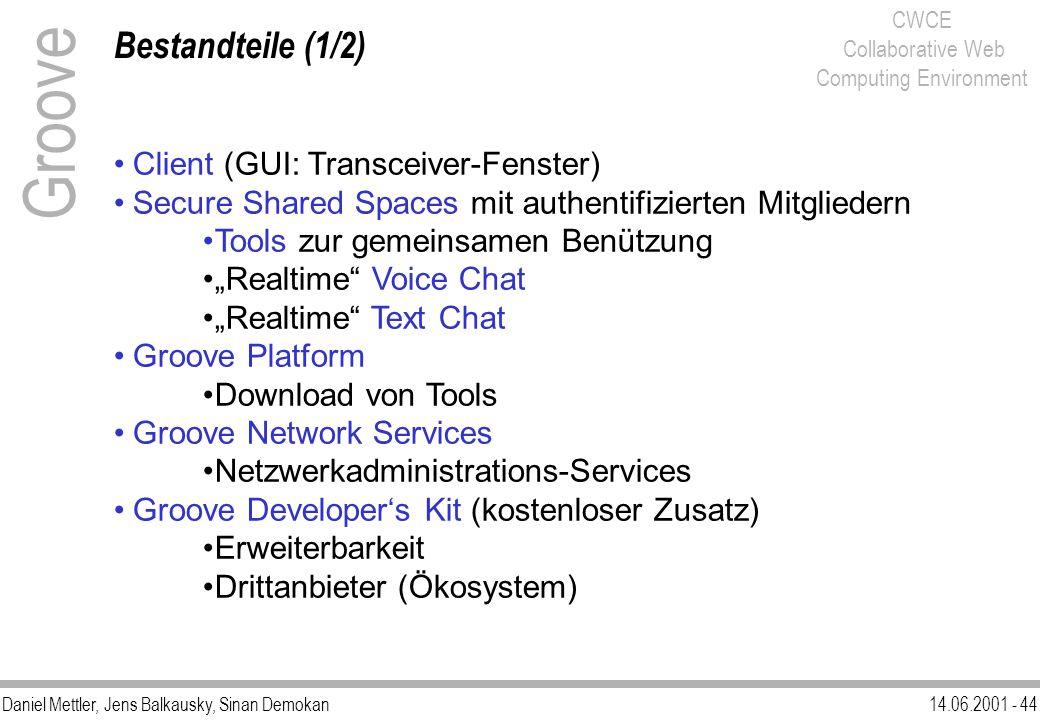 Daniel Mettler, Jens Balkausky, Sinan Demokan14.06.2001 - 44 CWCE Collaborative Web Computing Environment Bestandteile (1/2) Groove Client (GUI: Trans