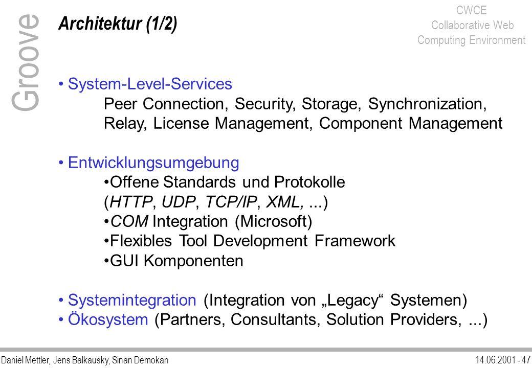 Daniel Mettler, Jens Balkausky, Sinan Demokan14.06.2001 - 47 CWCE Collaborative Web Computing Environment Architektur (1/2) Groove System-Level-Servic