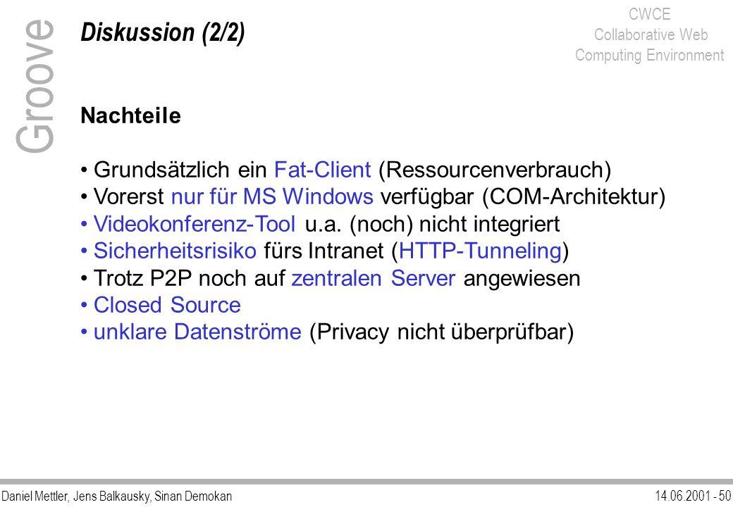 Daniel Mettler, Jens Balkausky, Sinan Demokan14.06.2001 - 50 CWCE Collaborative Web Computing Environment Diskussion (2/2) Groove Nachteile Grundsätzl