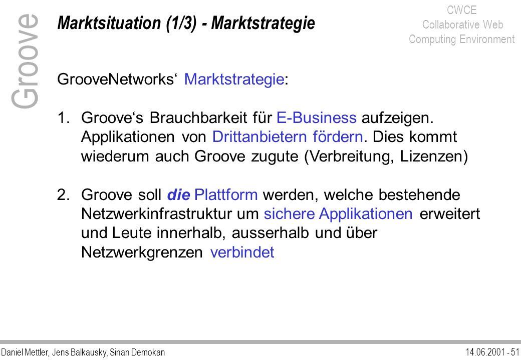 Daniel Mettler, Jens Balkausky, Sinan Demokan14.06.2001 - 51 CWCE Collaborative Web Computing Environment Marktsituation (1/3) - Marktstrategie Groove