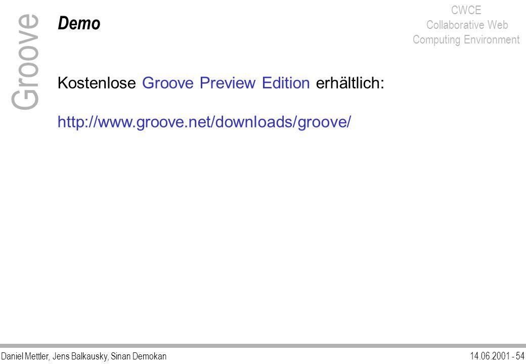 Daniel Mettler, Jens Balkausky, Sinan Demokan14.06.2001 - 54 CWCE Collaborative Web Computing Environment Demo Groove Kostenlose Groove Preview Editio