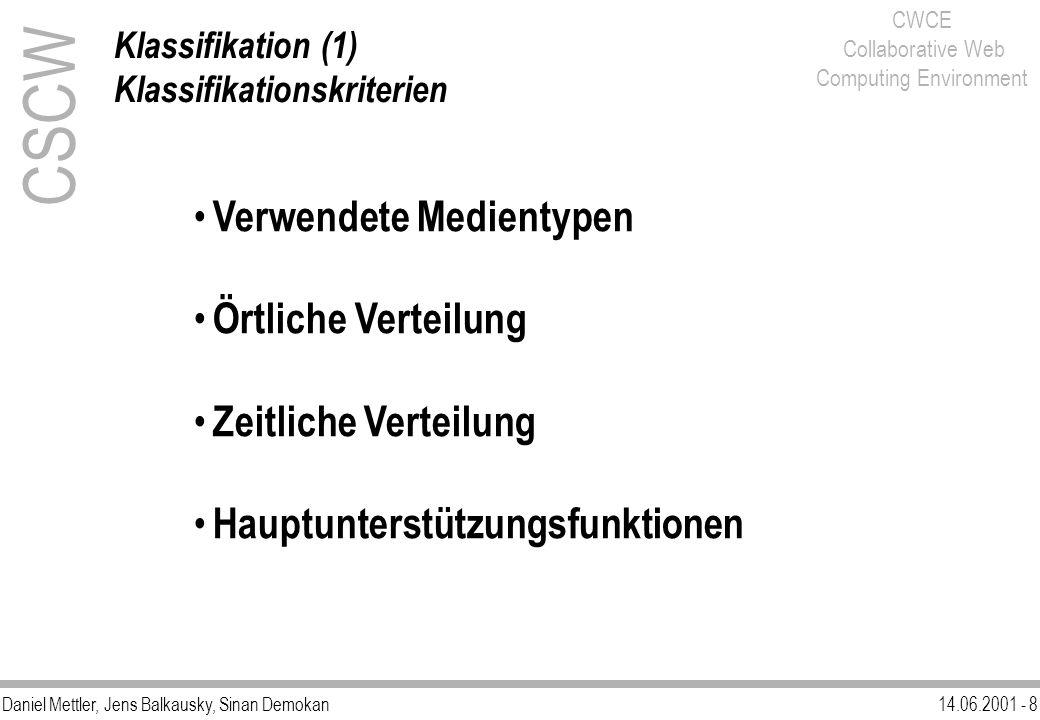 Daniel Mettler, Jens Balkausky, Sinan Demokan14.06.2001 - 8 CWCE Collaborative Web Computing Environment CSCW Klassifikation (1) Klassifikationskriter