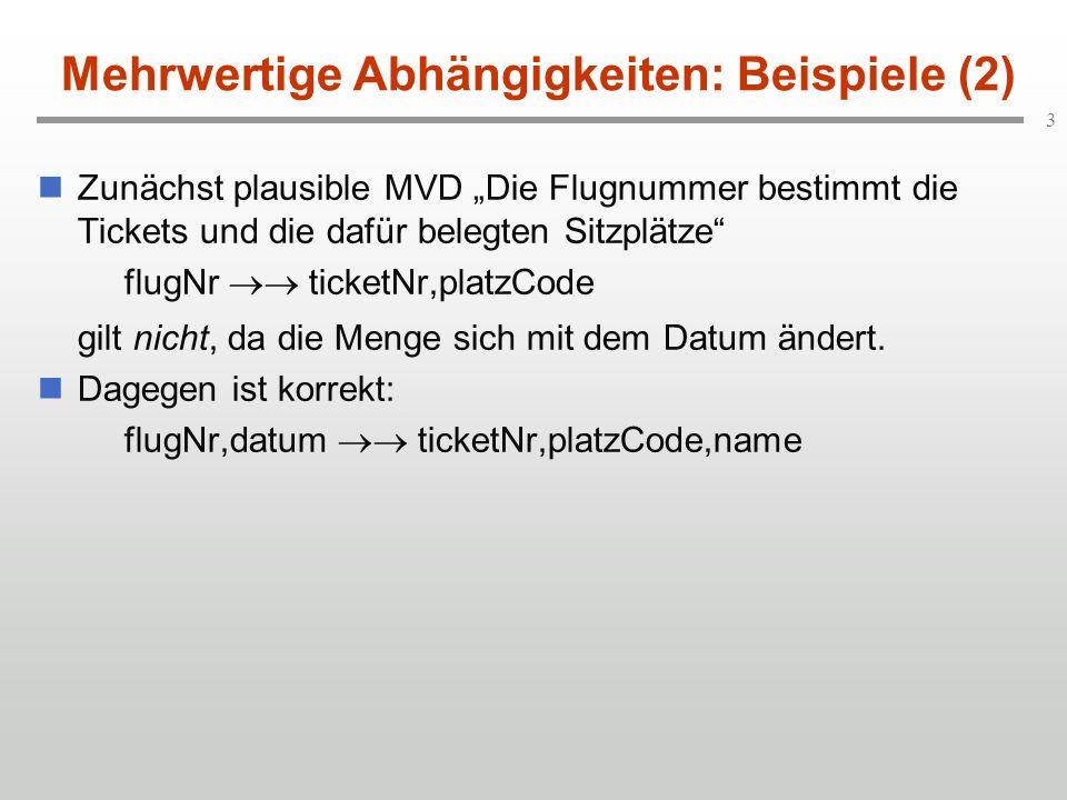 3 Mehrwertige Abhängigkeiten: Beispiele (2) Zunächst plausible MVD Die Flugnummer bestimmt die Tickets und die dafür belegten Sitzplätze flugNr ticketNr,platzCode gilt nicht, da die Menge sich mit dem Datum ändert.