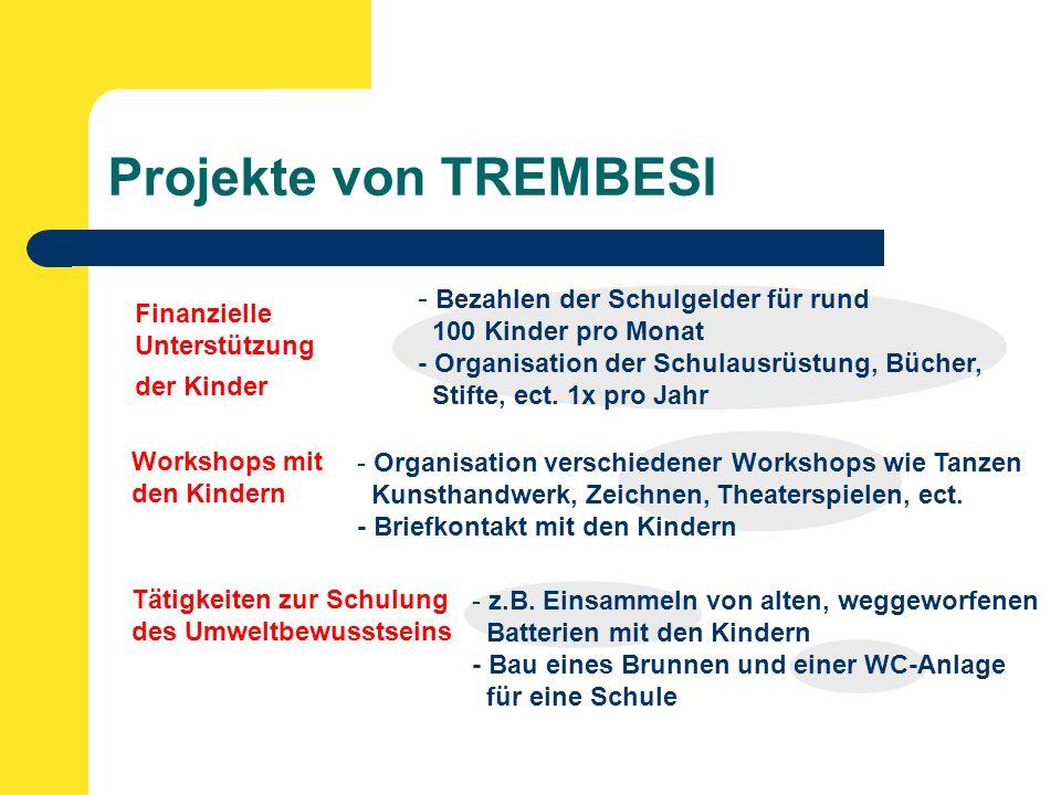 Projekte von TREMBESI Finanzielle Unterstützung der Kinder Workshops mit den Kindern - Bezahlen der Schulgelder für rund 100 Kinder pro Monat - Organisation der Schulausrüstung, Bücher, Stifte, ect.