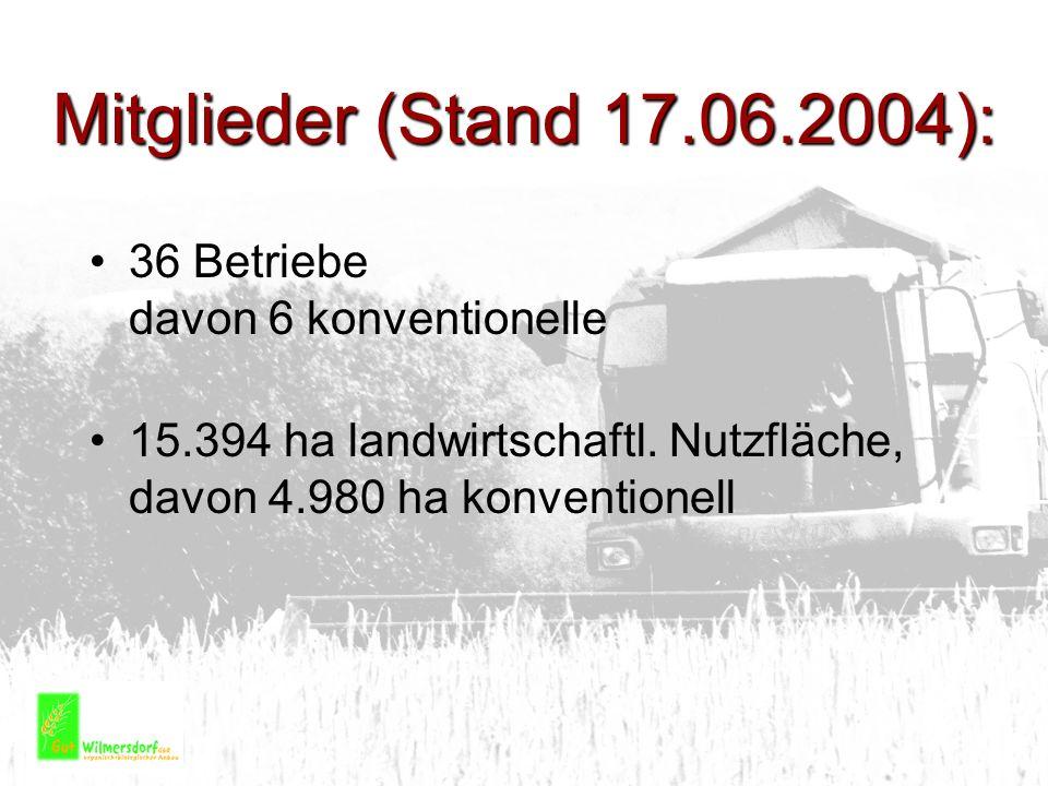 Mitglieder (Stand 17.06.2004): 36 Betriebe davon 6 konventionelle 15.394 ha landwirtschaftl. Nutzfläche, davon 4.980 ha konventionell