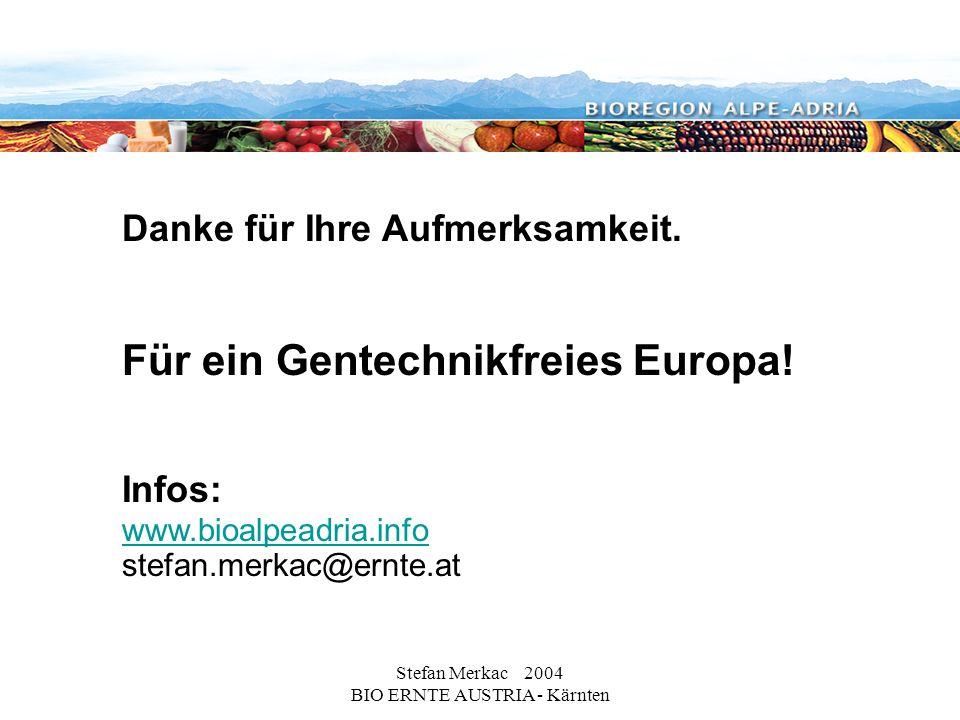 Stefan Merkac 2004 BIO ERNTE AUSTRIA - Kärnten Danke für Ihre Aufmerksamkeit. Für ein Gentechnikfreies Europa! Infos: www.bioalpeadria.info stefan.mer