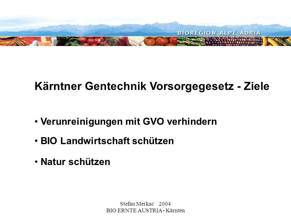 Stefan Merkac 2004 BIO ERNTE AUSTRIA - Kärnten Kärntner Gentechnik Vorsorgegesetz - Ziele Verunreinigungen mit GVO verhindern BIO Landwirtschaft schützen Natur schützen