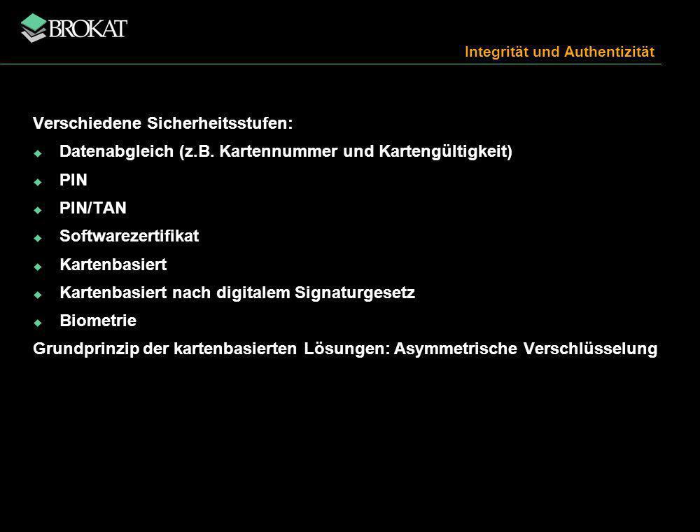 Integrität und Authentizität Verschiedene Sicherheitsstufen: Datenabgleich (z.B.