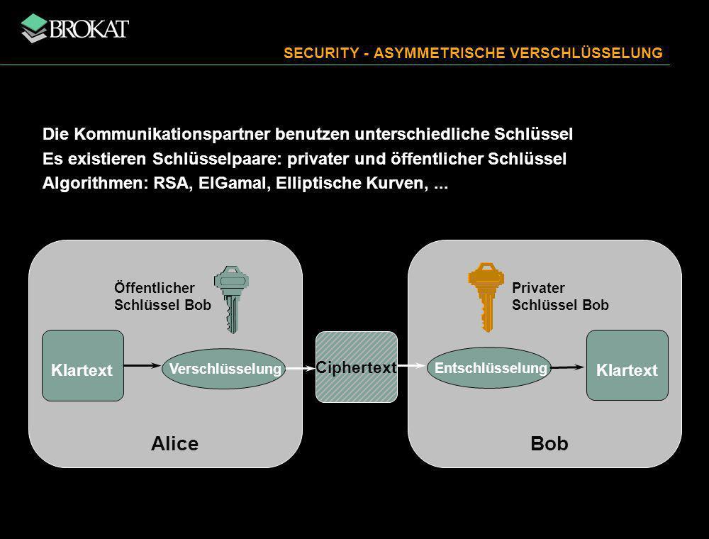 SECURITY - ASYMMETRISCHE VERSCHLÜSSELUNG Die Kommunikationspartner benutzen unterschiedliche Schlüssel Es existieren Schlüsselpaare: privater und öffentlicher Schlüssel Algorithmen: RSA, ElGamal, Elliptische Kurven,...