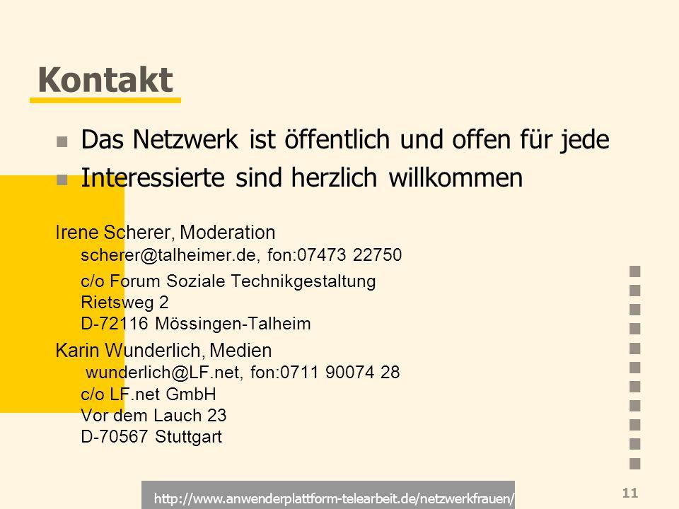 http://www.anwenderplattform-telearbeit.de/netzwerkfrauen/ 11 Kontakt Das Netzwerk ist öffentlich und offen für jede Interessierte sind herzlich willk