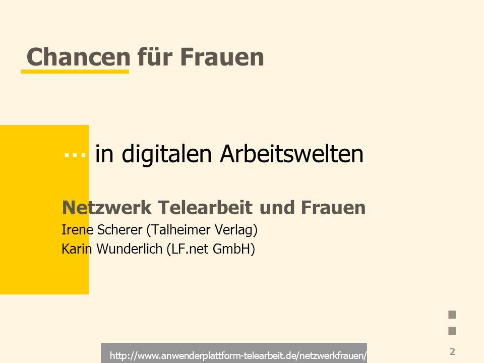 http://www.anwenderplattform-telearbeit.de/netzwerkfrauen/ 3 Inhalt Innovatives Leitbild Telearbeit Risiken für Frauen Chancen für Frauen Strategien Ziele des Netzwerks Kontakt Literatur