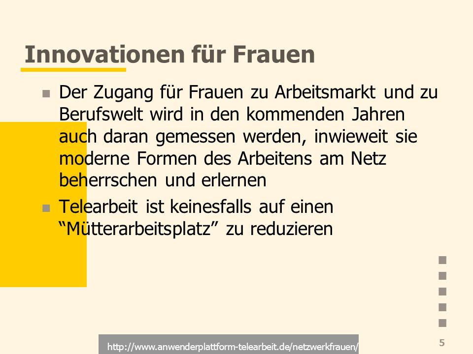 http://www.anwenderplattform-telearbeit.de/netzwerkfrauen/ 5 Innovationen für Frauen Der Zugang für Frauen zu Arbeitsmarkt und zu Berufswelt wird in d