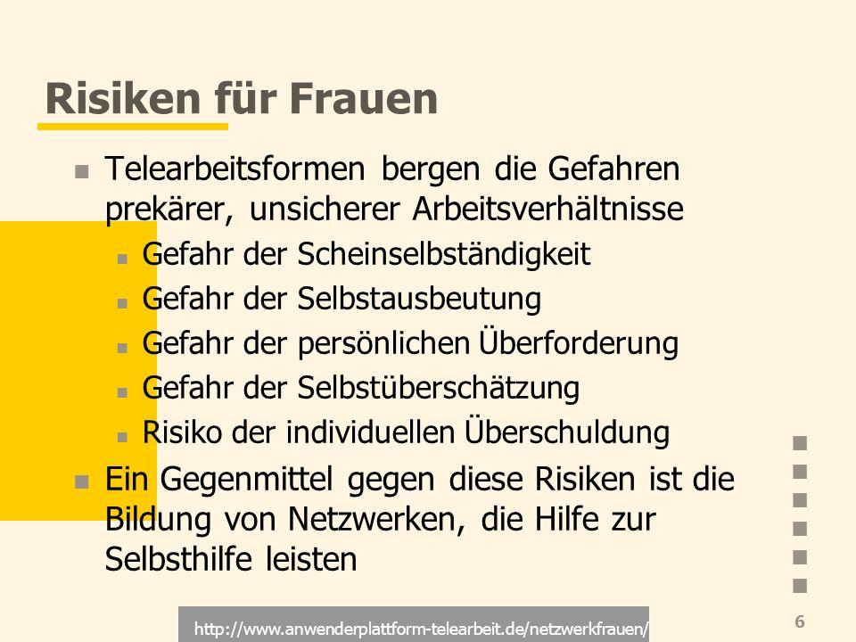 http://www.anwenderplattform-telearbeit.de/netzwerkfrauen/ 6 Risiken für Frauen Telearbeitsformen bergen die Gefahren prekärer, unsicherer Arbeitsverh