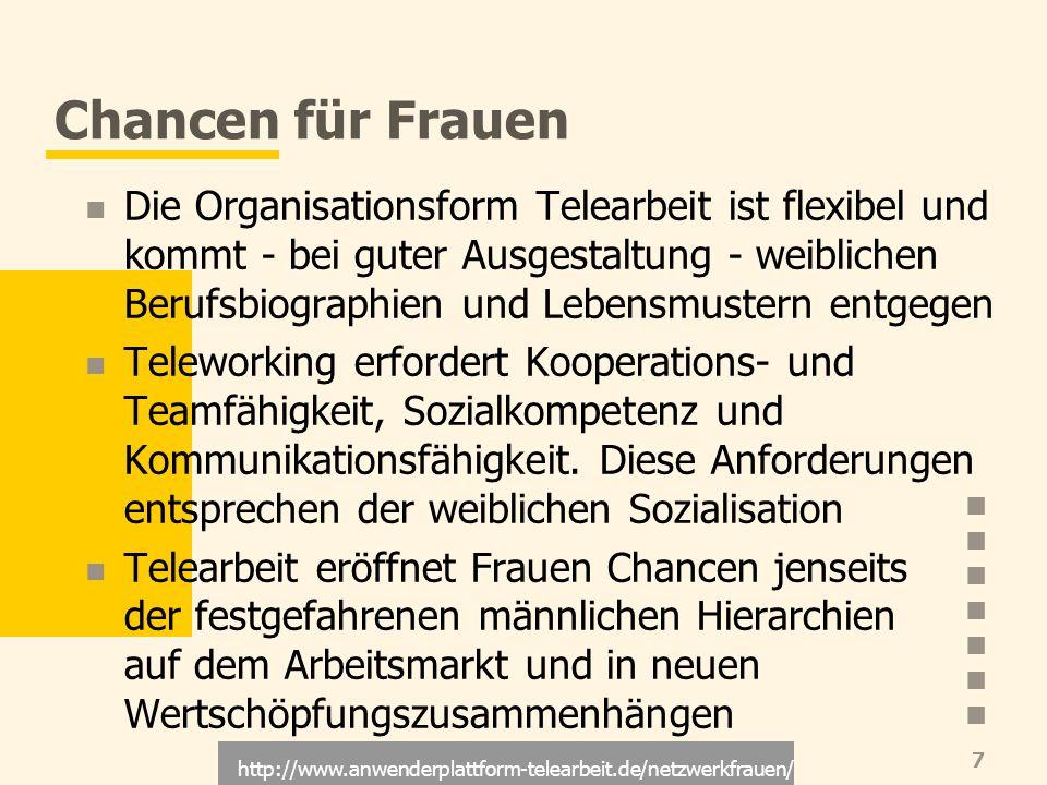 http://www.anwenderplattform-telearbeit.de/netzwerkfrauen/ 7 Chancen für Frauen Die Organisationsform Telearbeit ist flexibel und kommt - bei guter Au
