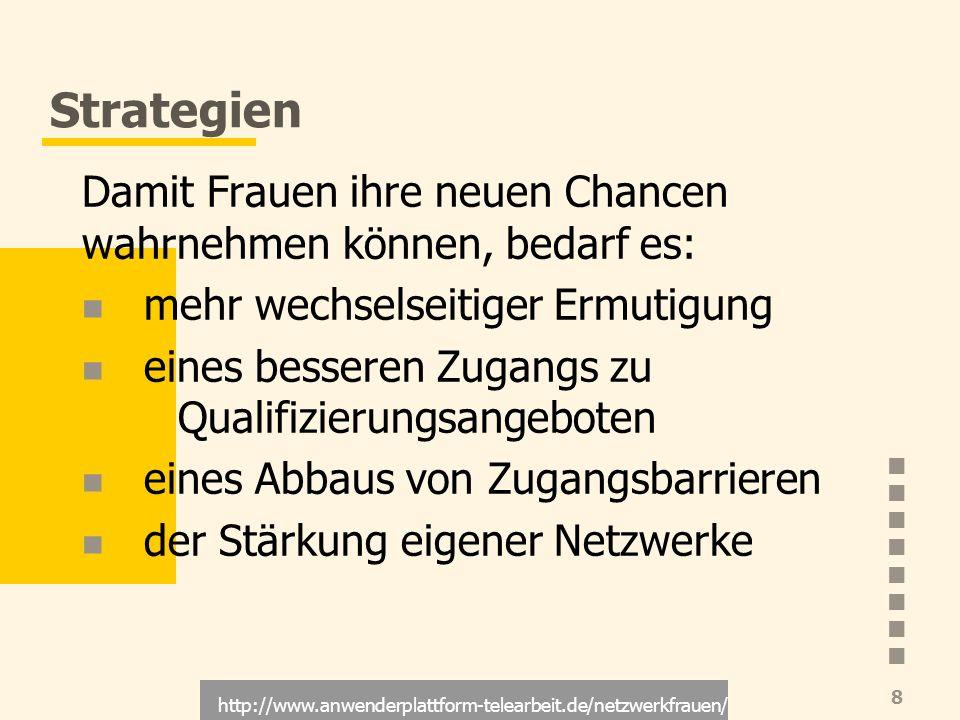 http://www.anwenderplattform-telearbeit.de/netzwerkfrauen/ 8 Strategien Damit Frauen ihre neuen Chancen wahrnehmen können, bedarf es: mehr wechselseit