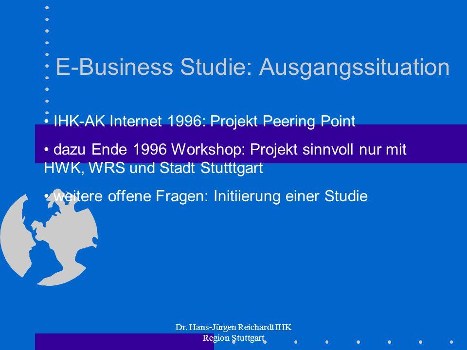 Dr. Hans-Jürgen Reichardt IHK Region Stuttgart E-Business Studie: Ausgangssituation IHK-AK Internet 1996: Projekt Peering Point dazu Ende 1996 Worksho