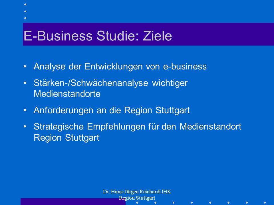 Dr. Hans-Jürgen Reichardt IHK Region Stuttgart E-Business Studie: Ziele Analyse der Entwicklungen von e-business Stärken-/Schwächenanalyse wichtiger M