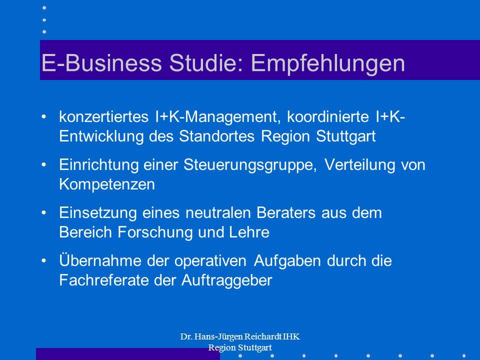 Dr. Hans-Jürgen Reichardt IHK Region Stuttgart E-Business Studie: Empfehlungen konzertiertes I+K-Management, koordinierte I+K- Entwicklung des Standor