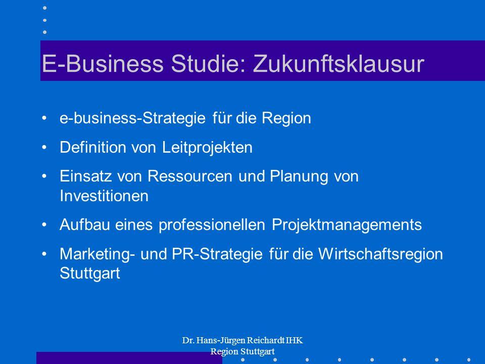 Dr. Hans-Jürgen Reichardt IHK Region Stuttgart E-Business Studie: Zukunftsklausur e-business-Strategie für die Region Definition von Leitprojekten Ein