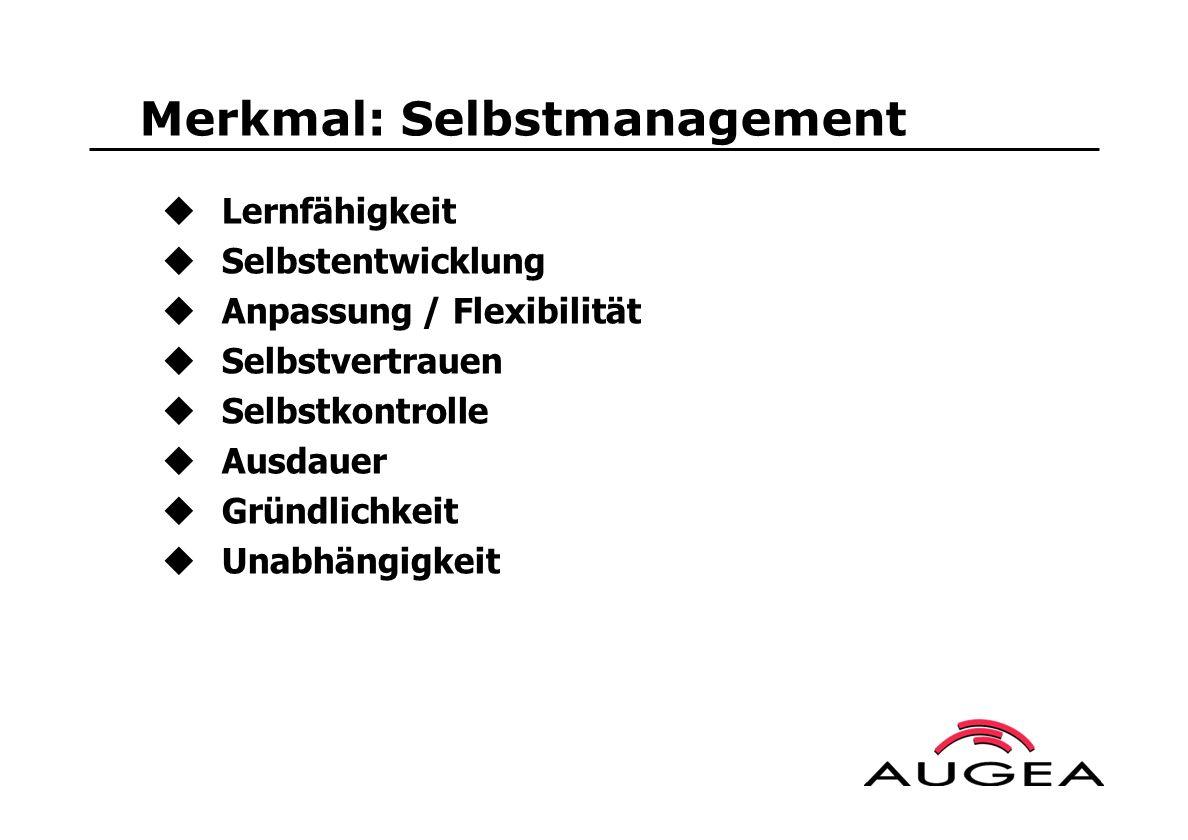 Merkmal: Selbstmanagement Lernfähigkeit Selbstentwicklung Anpassung / Flexibilität Selbstvertrauen Selbstkontrolle Ausdauer Gründlichkeit Unabhängigke