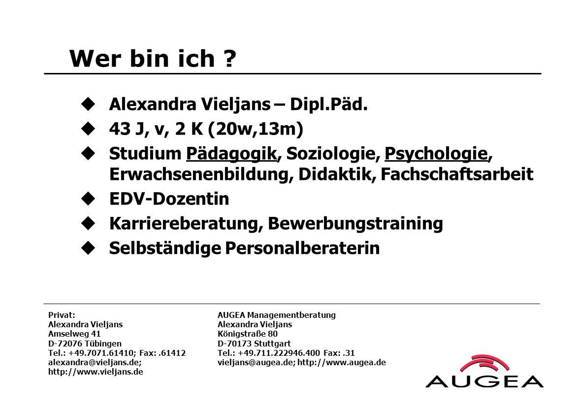 Wer bin ich ? Alexandra Vieljans – Dipl.Päd. 43 J, v, 2 K (20w,13m) Studium Pädagogik, Soziologie, Psychologie, Erwachsenenbildung, Didaktik, Fachscha