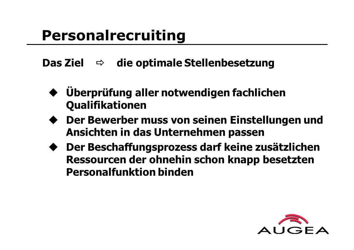 Personalrecruiting Das Ziel die optimale Stellenbesetzung Überprüfung aller notwendigen fachlichen Qualifikationen Der Bewerber muss von seinen Einste