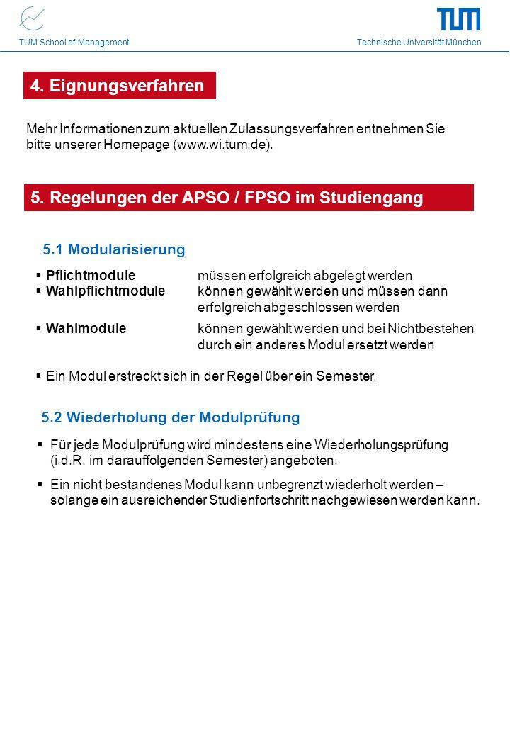 TUM School of Management Technische Universität München 5.1 Modularisierung Pflichtmodule müssen erfolgreich abgelegt werden Wahlpflichtmodule können