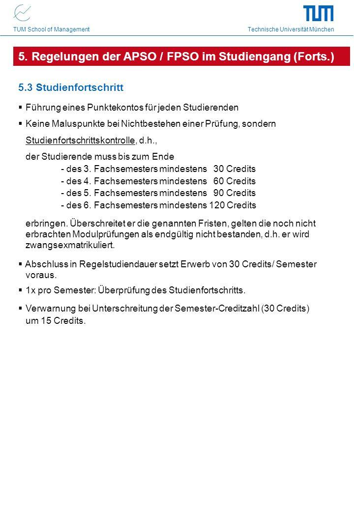 TUM School of Management Technische Universität München 5.3 Studienfortschritt Führung eines Punktekontos für jeden Studierenden Keine Maluspunkte bei