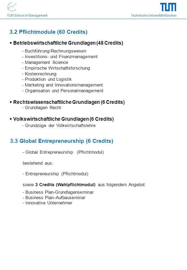 TUM School of Management Technische Universität München 3.2 Pflichtmodule (60 Credits) Betriebswirtschaftliche Grundlagen (48 Credits) - Buchführung/R